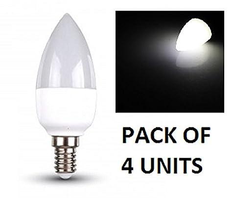 V-TAC LED Bougie Ampoules–Lot de 4unités–Blanc Froid 6000K–E14à petite vis type de base ses Fixations/470lumens de sortie–Puissance 6W/Faisceau 200°/vie 20000heures/non dimmable/SKU: 4241