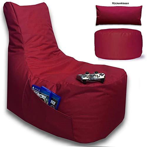 Sitzsack 3er Set Big Gamer Sessel mit EPS Sytropor Füllung - Rückenkissen - Hocker - In & Outdoor Sitzsäcke Sessel Kissen Sofa Sitzkissen Bodenkissen (Big Gamer Sitzsack 3er Set Uni Farbe, Bordeaux)