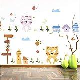 Sshssh Cartoon Katze Wandtattoos Kinder Säuglingszimmer Gras Pilz Schmetterling Sun Blumen Birdhouse Wandbild Poster Wohnkultur Tapete 30 * 90 Cm