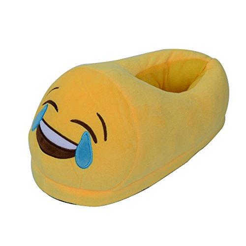 YUMOMO Unisex Herren und Damen nett Cartoon weichem Plüsch warme Pantoffeln schlüpfen 35-42 Lachen und weinen