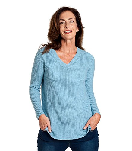 Woolovers Womens Cashmere and Merino Chunky V Neck Jumper