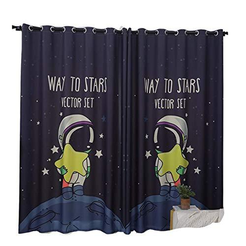 GFF Vorhang Koreanische Maßgeschneiderte Kinderzimmer Vorhänge Schlafzimmer Jungen Und Mädchen Cartoon Schattierung Studentenwohnheim Vorhänge Tuch Astronauten, 150 X 270 cm (B X H) X 2