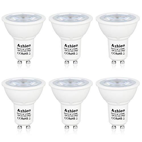 GU10 LED 5W Warmweiß, Azhien 5 W Ersetzt GU10 35W 50W Halogenlampen,400LM,MR16 230V LED 2700K Warmweiss,LED Leuchtmittel,36 Grad,6er Pack -