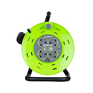 Status 13 A 4 Socket Cable Reel with Thermal Out,Green,50 metres