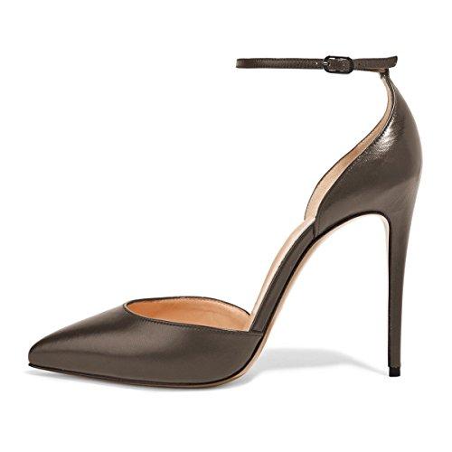 Lutalica Frauen Sexy Knöchelriemen Schnalle Spitz Formale Kleid Stiletto High Heels Matt Gold-braun Größe 44 EU