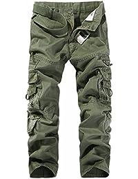 LANBAOSI Hommes Pantalon en Coton Armée Cargo Pantalon Camouflage Camo 095f74bd997