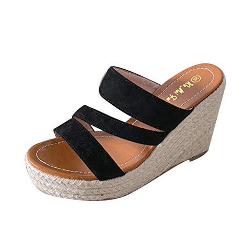SHE.White Sommer Keilabsatz Pantoletten Schuhe für Damen Plateau Wedge Schuhe Offener Zeh Sandaletten Geflochtene Leinen Sohle Atmungsaktiv Sommerschuhe -