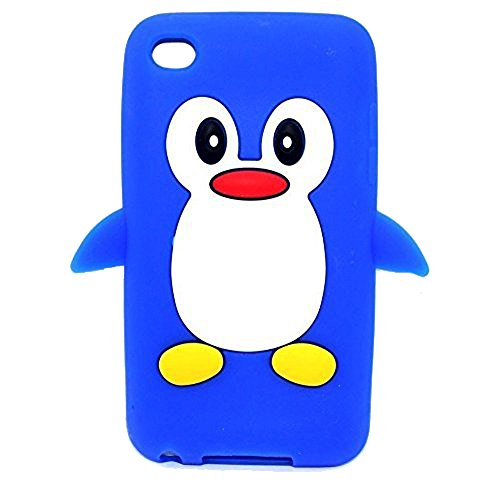 Tsmine Apple Ipod Touch 4. Generation Pinguin-Karikatur-Fall - Cute 3D Penguin Weiche Silikon-Rückseite waschbar Cover Case Schutzhülle für iPod Touch 4. Gen., Dunkelblau -