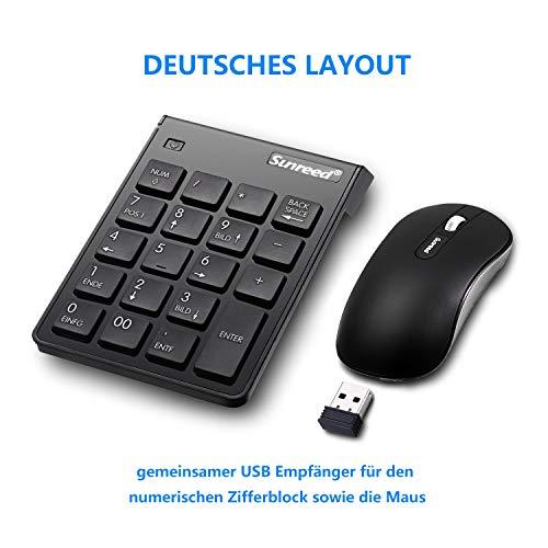 USB pavé numérique/Souris Combo, 2.4G sans fil MINI USB numérique pad clavier et souris pour PC portable de bureau Notebook, avec un interrupteur ON/OFF, seulement un port USB-Noir