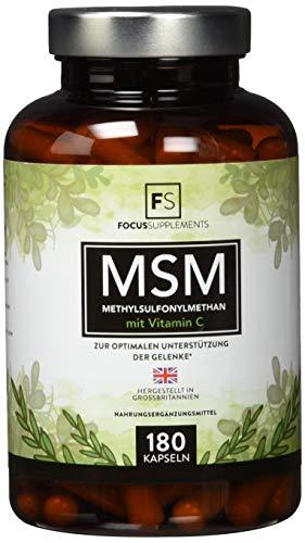 MSM Kapseln 1200 mg (180 vegane Kapseln), Methylsulfonylmethan-Pulver mit Vitamin C | Organischer Schwefel für Detox | Hochdosierte Gelenkkapseln – Aus ISO-zertifizierten Betrieben (1 Flasche)