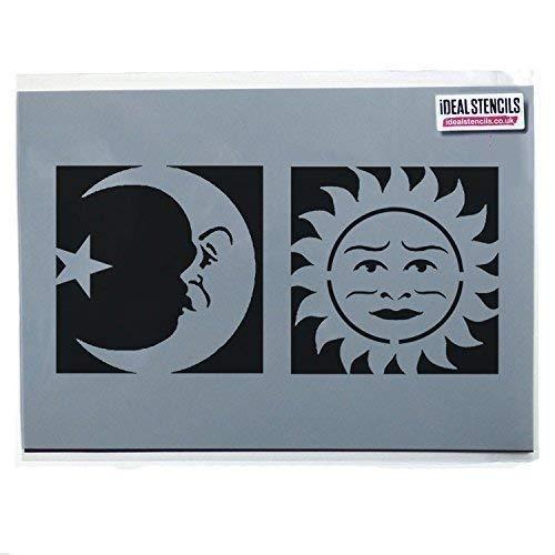 Celestial Sonne & Moon Gesicht Stempel/Halloween Ouija Board Symbole/Heim Dekoration Kunst Handwerk - halb transparent Schablone, XXL Symbols 50cmx50cm