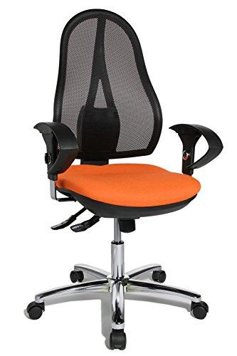 Orange Stoff Mit Einem Ergonomischen Stuhl (Topstar Open Point SY Deluxe, ergonomischer Syncro-Bandscheiben-Drehstuhl, Bürostuhl, Schreibtischstuhl, inkl. Armlehnen (höhenverstellbar), Stoff, orange)