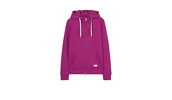 GANT DAMEN ZIP Hoodie, Kapuzensweatjacke in raspberry purple
