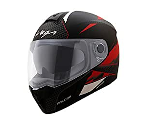 Vega Ryker D/V Bolder Full Face Helmet (Dull Black and Red, M)