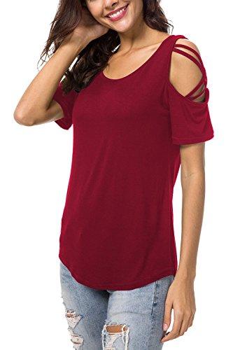 NICIAS Damen Sommer Kurzarm Rundhalsausschnitt T-Shirt Schmales Strappy Cold Shoulder Oberteil Lässige Tunika Tops Bluse Shirt(Wein,XXL)