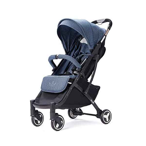 Allis Lightweight Plume Stroller Baby Buggy - Denim Allis Baby Made according to British Standard EN1888 and Fire Safety Regulations 1988. Lockable 360 swivel wheels, removable and suspension, Peek A Boo window/ Recline Seat/ Lie-flat position From 6M (Upto 15Kg Approx). Lightweight 6.7Kg only, Easy to fold with one hand only 3
