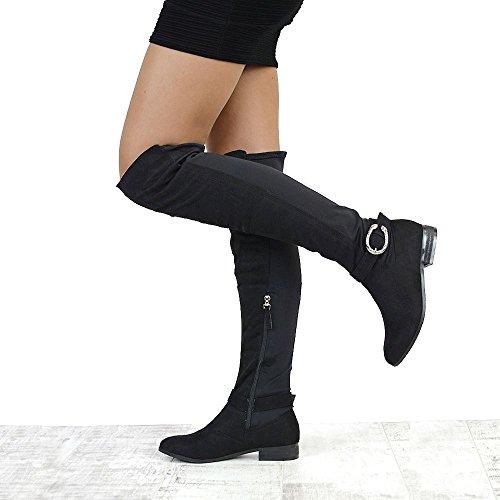 ESSEX GLAM Damen Kunstleder Überknie Elastisch Flach Langshaft Schenkelhoch Stiefel Mit Schnalle BLACK FAUX SUEDE