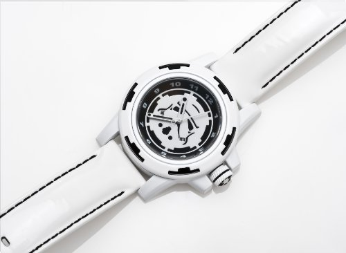 Star Wars Men's Quartz Watch with Multicolour Dial Analogue Display and White Leather Strap STAR141