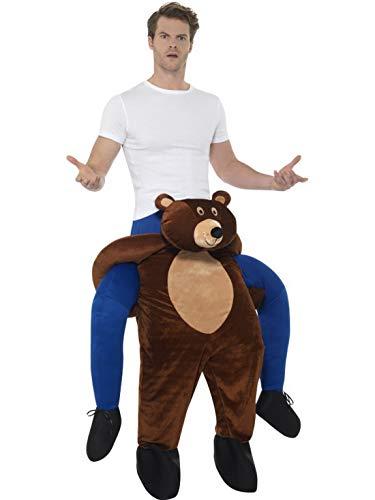 Luxuspiraten - Herren Männer Huckepack Piggyback Kostüm, Bear Braunbär Bär trögt Dich, Einteiler Overall Jumpsuit, perfekt für Karneval, Fasching und Fastnacht, One Size, (Löwe Tiger Bär Halloween Kostüm)