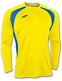 Joma Champion III - Camiseta con manga larga, unisex, color amarillo/azul royal, talla 6XS - 5XS
