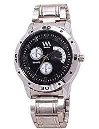 Watch Me Black Dial Silver Leather Strap Watch For Men And Boys AWC-010 AWC-010omt