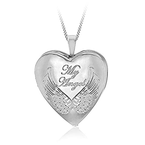 Tuscany Silver Sterling Silver Rhodium Plated 19.5mm Heart 'My Angel' Locket Pendant on Adjustable Curb Chain of Length 46cm