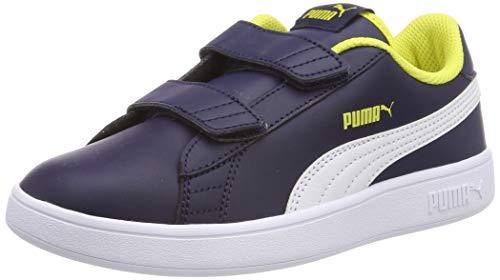 Puma Unisex-Kinder Smash v2 L V PS Sneaker,Blau (Peacoat-Puma White-Blazing Yellow), 29 EU