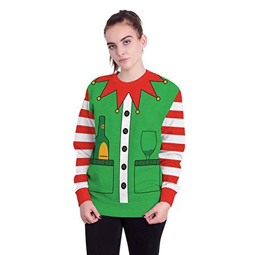 Damen Herren Sweatshirt Hoodies 2018 Europäische Und Amerikanische Erwachsene Weihnachtsmann Rundhals Langarm-Pullover, XL, Weihnachtsglas