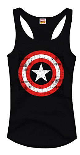 Captain America Tank Top Marvel Comic Top m Retro-Print Baumwolle schwarz Schwarz
