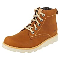 Clarks Boys Casual Boots Dexy Top - Brown Leather - UK Size 1F - EU Size 33 - US Size 1.5M