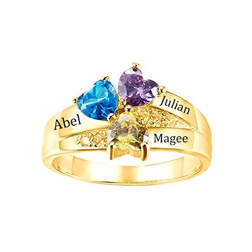 Yanday 3 Namen mit benutzerdefiniertem Namen-Namenring des herzförmigen Geburtssteins(18ct Gold Plated Silber 54 (17.2)) (Gold-plated Jade Und Diamant-ring)