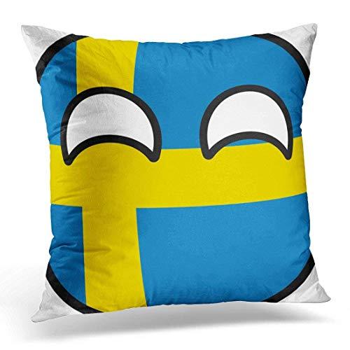 artyly Kissen KissenbezugSchwedisches lustiges neigendes Schweden-Countryball-Land Decor Square Accent Pillowcase 45x45 cm -