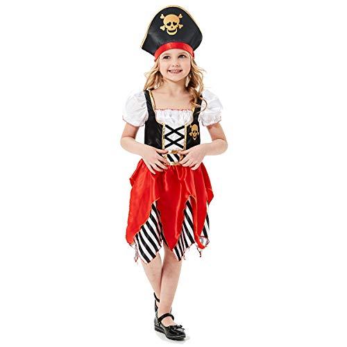 Sincere Party Disfraz de Pirata para niñas, Vestido de Lujo y Sombrero Pirata para niños, Tallas 5-6,7-8,9-10
