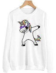 Dooxi Femme Licorne Imprimé Sweatshirt Manches Longues Col Rond Décontractée Tops à Sweats Mode Pullover