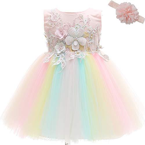 AHAHA Vestito Rose da Principessa Bambino per Matrimonio Abiti per Feste di Compleanno per Bambina (0-2anni)