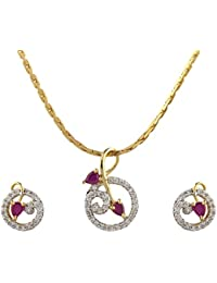 One Gram Gold Plated Pendant Set By Sapna FX PS 4244 Ruby
