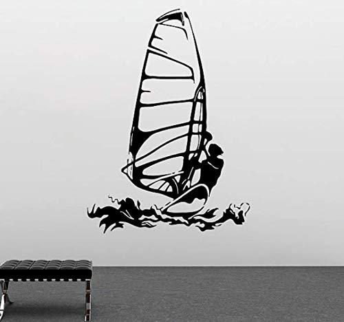 Pegatinas de pared, deporte extremo, murales de pared, hombre, surfeando con tabla de surf, silueta, arte, tatuajes de pared, calcomanía, sala de estar, decoración, 45X64 cm.