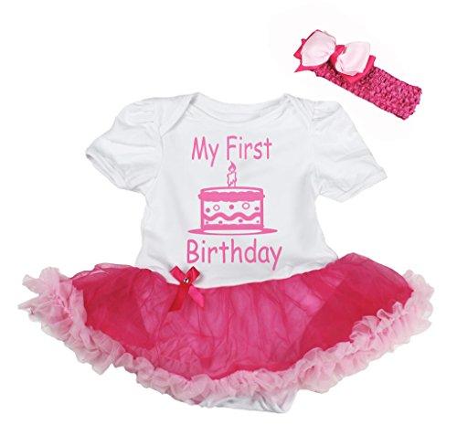 Petitebelle My First Birthday Cake White Bodysuit Hot Pink Tutu Nb-18m (12-18 (Cupcake Kostüme Neugeborenen)