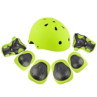 WEIZQ 7er Set Kinder Sport Schutzausrüstung Helm Knieschutz, Handgelenksschutz, Ellbogenschutz Set für Skateboard Fahrrad, Longboard, S