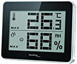 Technoline WS 9450 kleines Thermometer, digital, mit Innentemperatur- und Innenluftfeuchteanzeige, sowie Wohlfühlindikator, schwarz, 10 x 1 x 8,1 cm