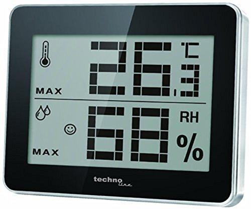 Technoline WS 9450 kleines Thermometer, digital, mit Innentemperatur- und Innenluftfeuchteanzeige, sowie Wohlfühlindikator, schwarz, 100 x 10 x 81 mm