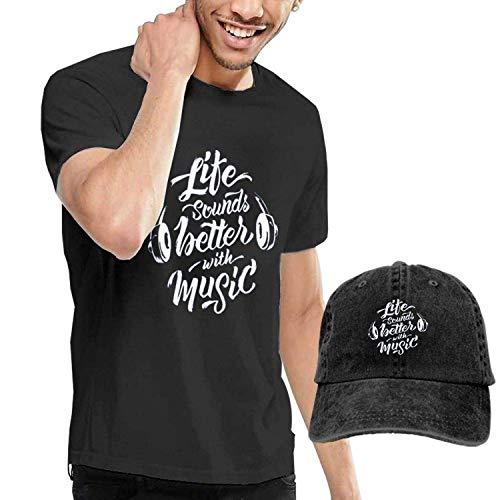 Kalinanai T-Shirts, T-Stücke, Life Sounds Better with Music Herren Soft Causal T-Shirt mit Unisex Fashion Denim Baseball Hats