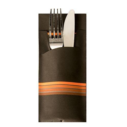 PAPSTAR 520 Bestecktaschen 20 cm x 8,5 cm Schwarz/Orange Stripes inkl. Farbiger Serviette 33 x 33 cm 2-Lag. 86704 Serviettentaschen Streifen
