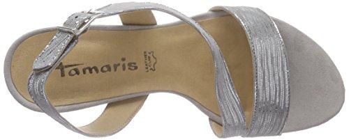 Tamaris - 28344, Scarpe col tacco con cinturino a T Donna Grigio (Grau (GREY/SILVER 286))