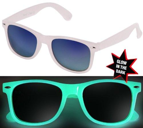 Nerd Clear DIE ORIGINAL Sonnenbrille GLOW in the DARK Weiss Blau-verspiegelt