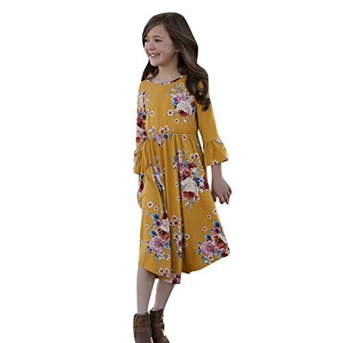 Baby Kinder Mädchen Familienkleidung Lange Ärmel Vintage Böhmisches Kleid Rockabilly Damen Blumendruck Swing Party Kleider ()