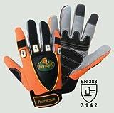 FerdyF. Protector HANDSCHUHE, orange. Robuster Handschuh für professionelle Arbeiten in Montage, Umgang mit Maschinen und Materialien.