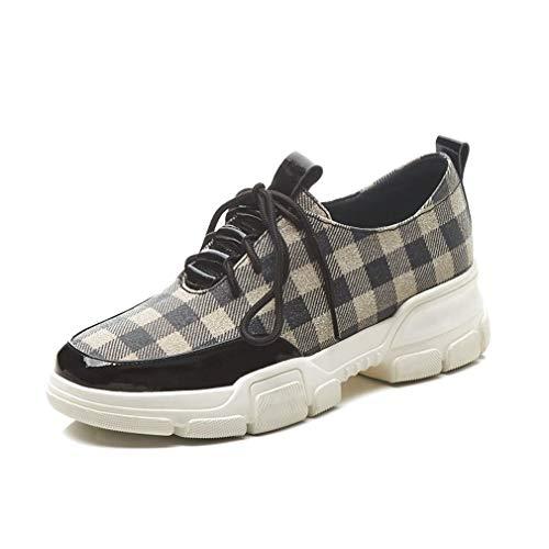 YAN Damen-Sneakers Neue Sping Flat Heel Platform Schuhe Fashion Leather + Plaid Sports Shoes Low-Top-Trainingskschuhe,A,35 Plaid Low Top Sneaker