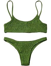 QIYUN.Z Femmes Tops À Rayures Basse Maillot Floral Haute Taille Plage Bikini Deux Pièces