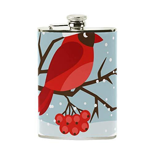 TIZORAX Winter Kardinal Red Bird Edelstahl-Flachmann, Taschenflagon, Camping Weintopf, Geschenk für Männer oder Frauen, 227 ml - Kardinäle Damen-accessoires